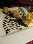 Deep fried cointreau truffles with Ice cream